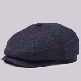 Классическая кепка Zefear Восьмиклинка 802 Vinci - Темно-сине-бордовая Клетка