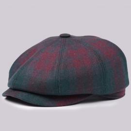 Классическая кепка Zefear Восьмиклинка 802 - Зелено-бордовая Клетка