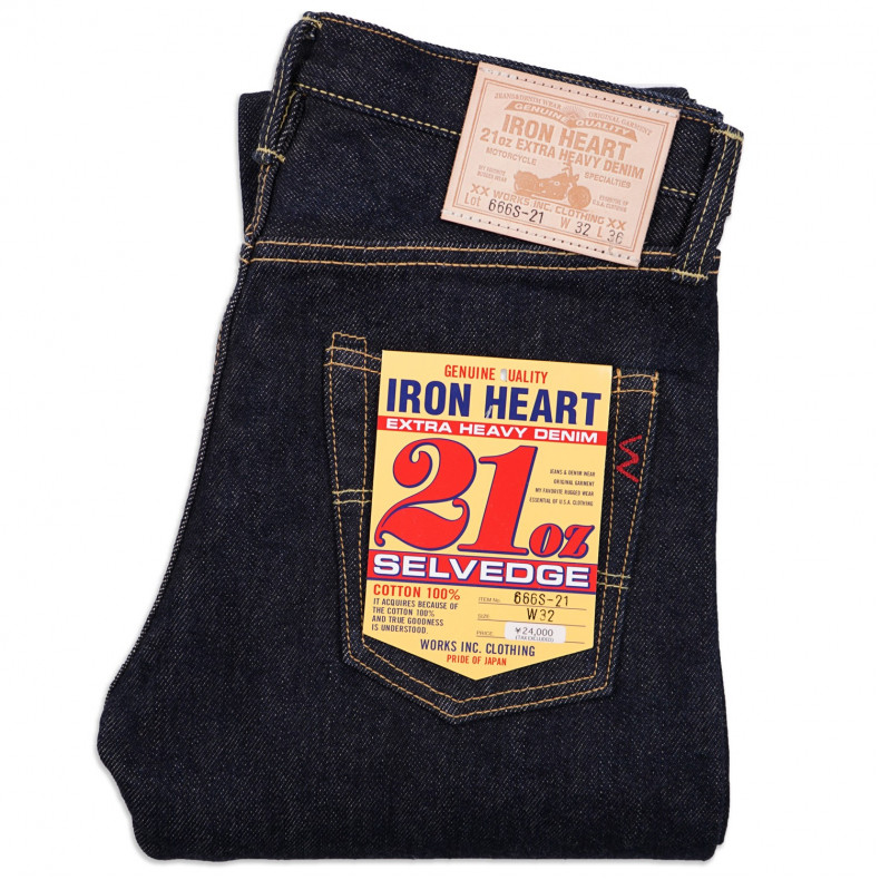 Джинсы Iron Heart IH-666S-21 Slim Straight Cut Indigo 21oz Selvedge