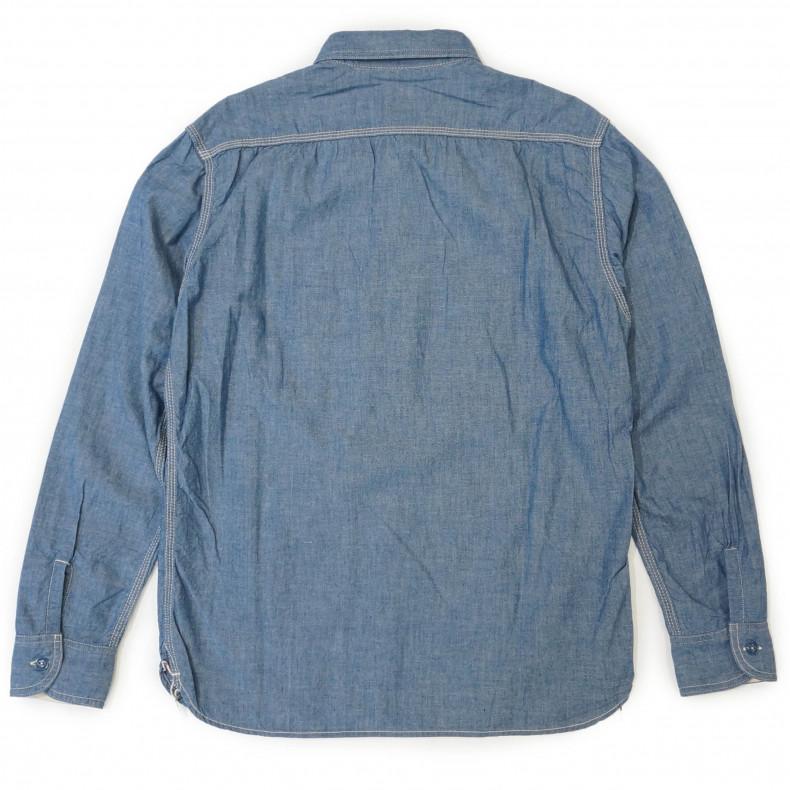 Рубашка Momotaro MS033 ID Work Shirt Zimbabwe Chambray Selvedge 5 oz - blue