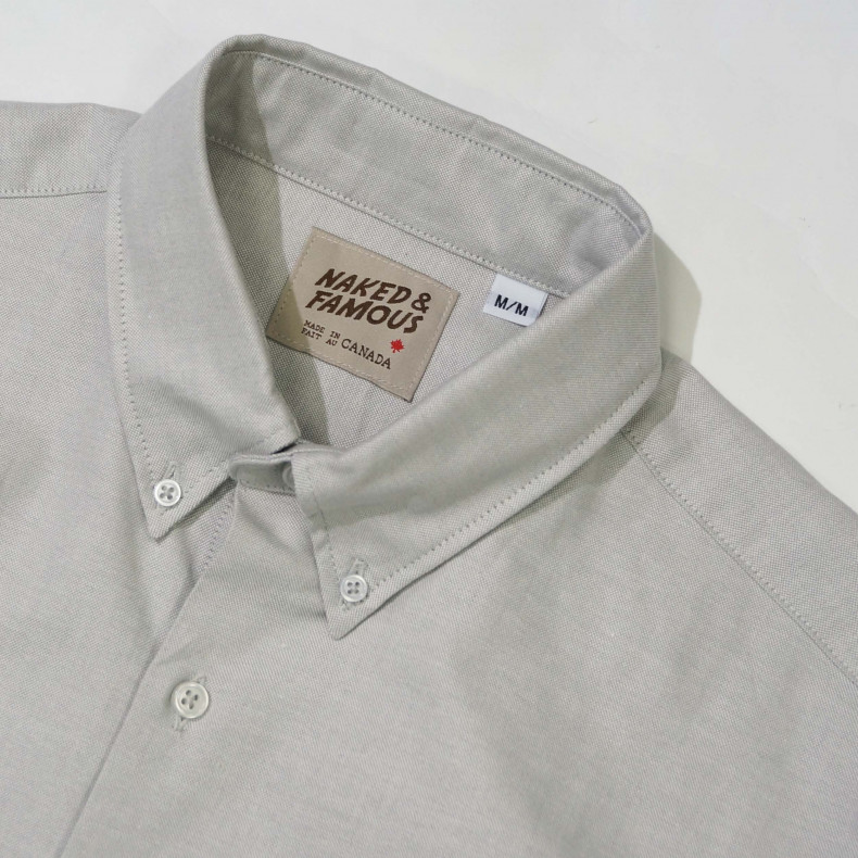 Рубашка Naked and Famous Slim Oxford grey