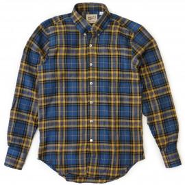 Рубашка Naked and Famous Regular Shirt Herringbone  Shadow Twill  blue yellow