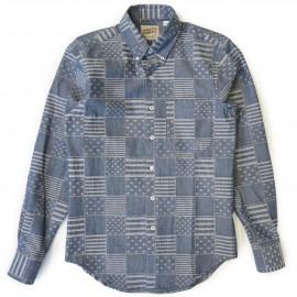 Рубашка Naked and Famous Regular Shirt Stars + Stripers Jacquard indigo