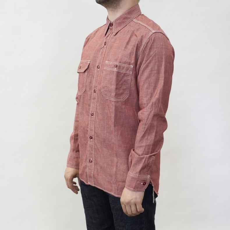 Рубашка Momotaro MS033 Work Shirt Zimbabwe Chambray Selvedge 5 oz - Red