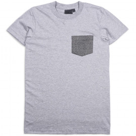 Футболка Naked and Famous Pocket Tee Heather Grey Kimono Eyes Blue