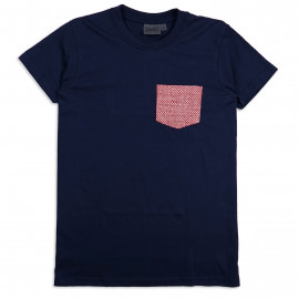 Футболка Naked and Famous Pocket Tee Navy Kimono Eyes Red