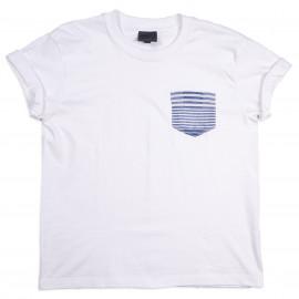 Женская футболка Naked and Famous White Tee Striped Windowpane