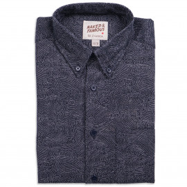 Рубашка Naked and Famous Regular Kimono Wave Indigo