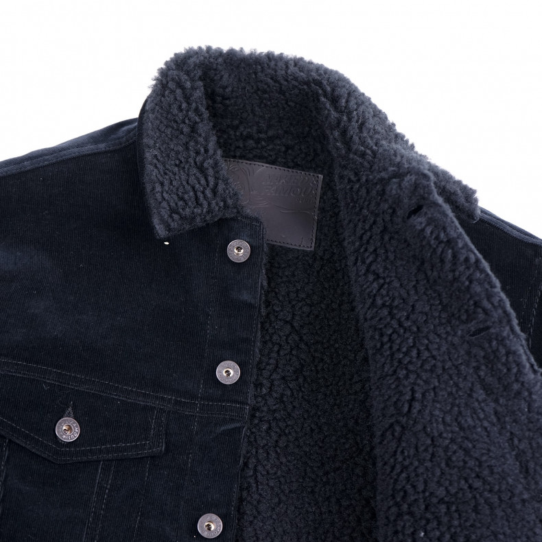 Джинсовая Куртка Naked and Famous Sherpa Jacket - Black Corduroy