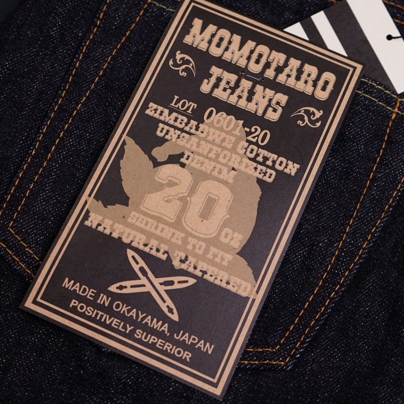Джинсы Momotaro Jeans 0601-20 Natural Tapered Zimbabwe Cotton Selvedge 20 oz - One Wash