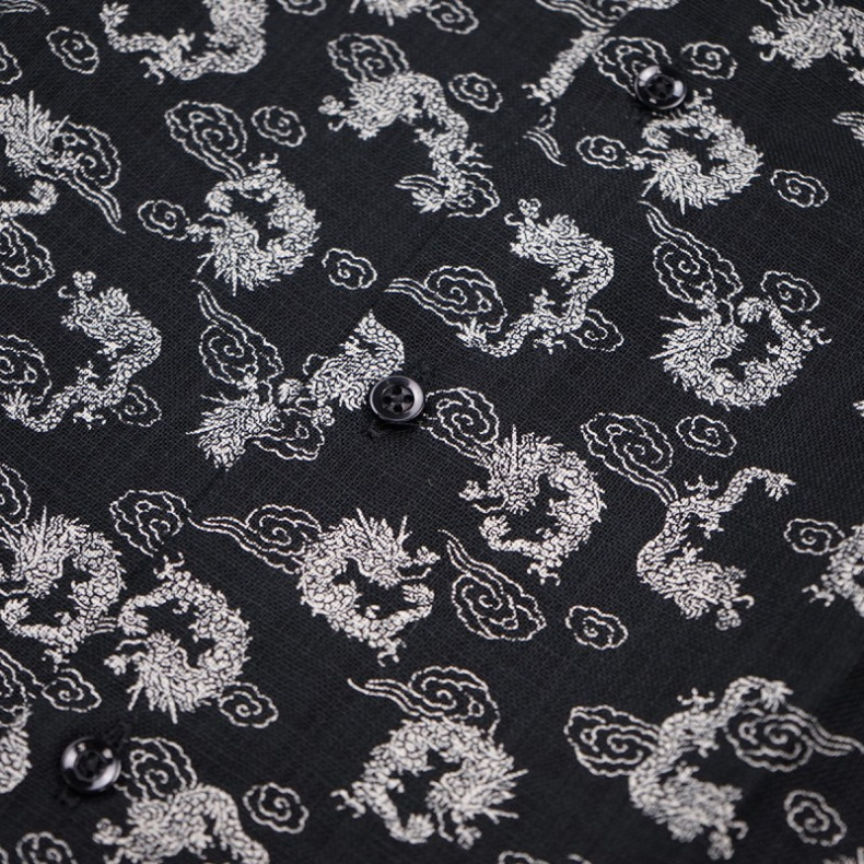 Рубашка Naked and Famous Regular Shirt - Dragon Print - Black