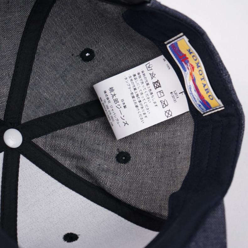 Кепка Momotaro Jeans Snapback SJ014 Denim Indigo/White