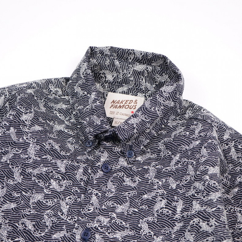 Рубашка Naked and Famous Regular Shirt - Koi Waves Print - Navy