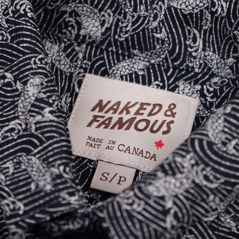 Рубашка Naked and Famous Regular Shirt - Koi Waves Print - Navy