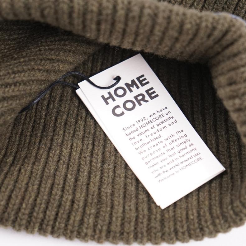 Шапка Homecore Finn Hat Logo Sand Классическая форма с подворотом 100% шерсть Сделано в Португалии