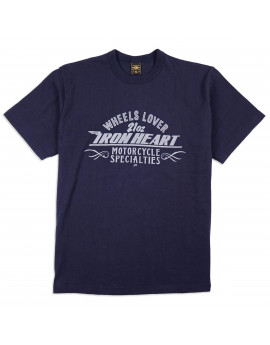 "Футболка Iron Heart IHT-1901 - 6.5oz Printed Loopwheel Crew Neck T-Shirt ""Wheels Lover"" Navy"