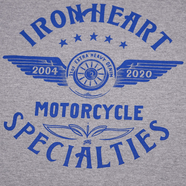 Футболка Iron Heart IHT-1906 7.5oz Print T-shirt Flying Wheel Pattern Grey