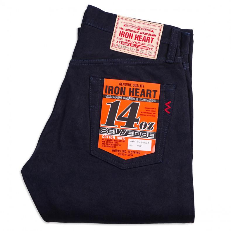 Джинсы Iron Heart IH-634S-14ib-T Straight Cut Indigo/Black 14oz Selvedge