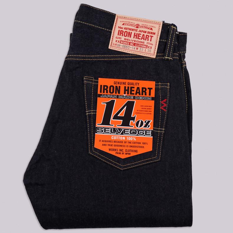 Джинсы Iron Heart IH-666-14 Slim Straight Cut Indigo 14 oz Selvedge One Wash