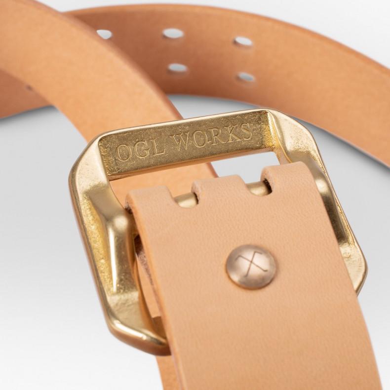 Ремень OGL Double Prong Garrison Buckle Leather Belt - Natural