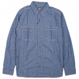 Рубашка Momotaro MS033 Work Shirt Zimbabwe Chambray Selvedge 5 oz - blue