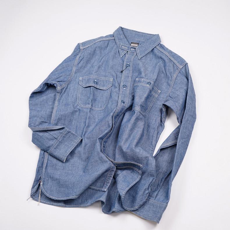 Рубашка Momotaro MS033 Work Shirt Zimbabwe Chambray Selvedge 5 oz - blue