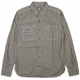Рубашка Momotaro MS033 Work Shirt Zimbabwe Chambray Selvedge 5 oz - green