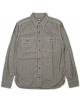 Рубашка Momotaro MS033 Work Shirt Zimbabwe Chambray Selvedge 5 oz - green