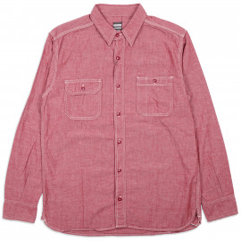 Рубашка Momotaro MS033 Work Shirt Zimbabwe Chambray Selvedge 5 oz - Red