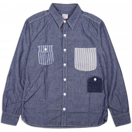 Рубашка Momotaro 05-226 Work Shirt Multi-pocket Zimbabwe Chambray 5 oz - Indigo