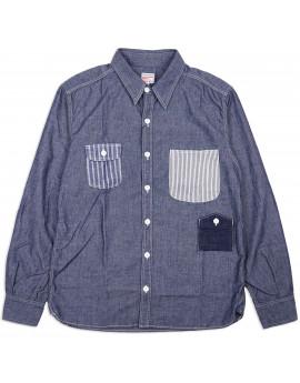 Рубашка Momotaro 05-226 Work Shirt Multi-pocket Zimbabwe Chambray 5 oz - Indigo