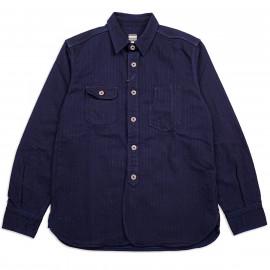 Рубашка Momotaro Jeans 05-159 Indigo Herringbone Shirt