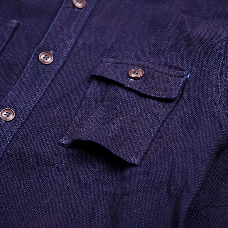 Рубашка Momotaro Jeans 05-162 Heavy Indigo Dobby shirt- ID