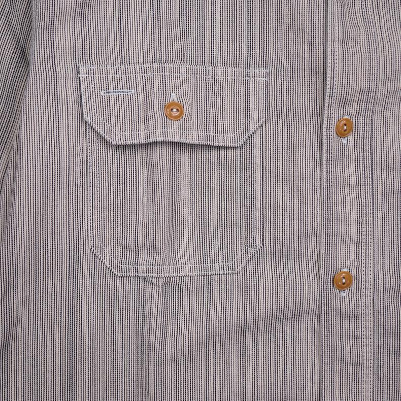 Рубашка Momotaro Jeans 05-283 Hickory Work Shirts05-283 Hickory Stripe Work Shirts Grey/ID