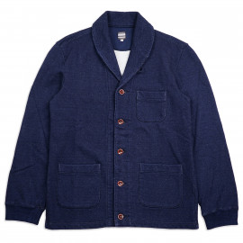 Кардиган Momotaro Jeans 07-064 Indigo Dyed Shawl Collar Sweat Cardigan