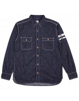 Рубашка Momotaro Jeans 05-228 GTB Out line family paint work shirt 8 oz Indigo - One Wash