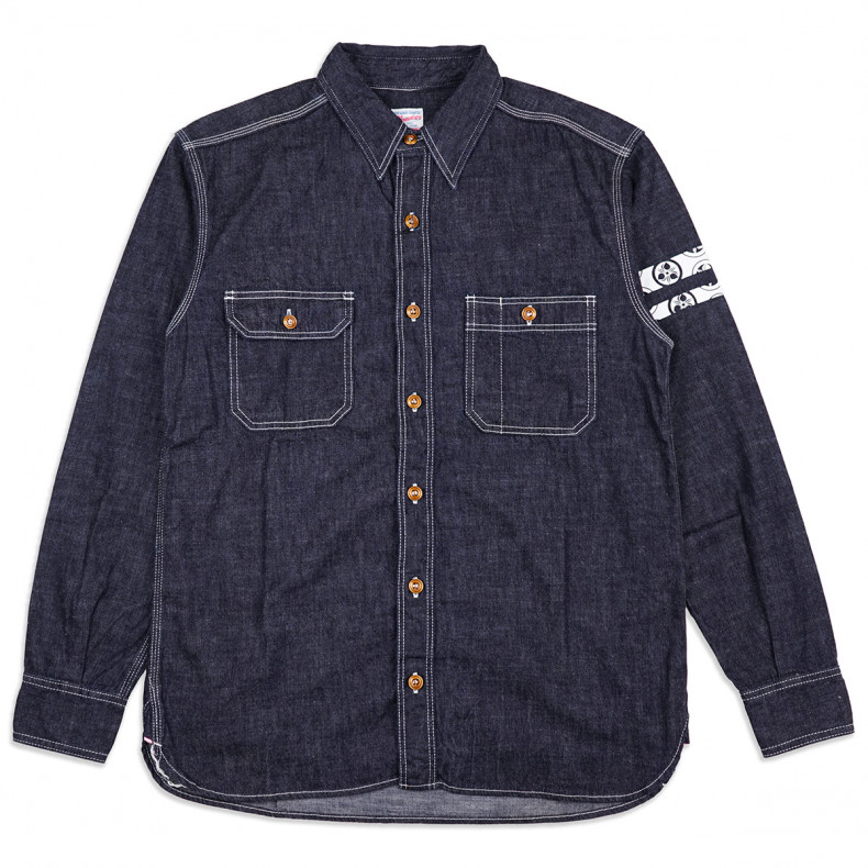 Рубашка Momotaro Jeans 05-228 GTB Out line family paint work shirt 8 oz Indigo - One Wash