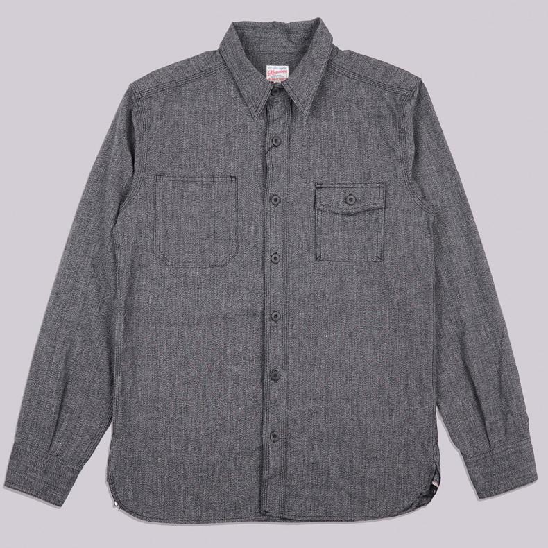 Рубашка Momotaro Jeans 05-214 Twisted Chambray Work Shirt Black