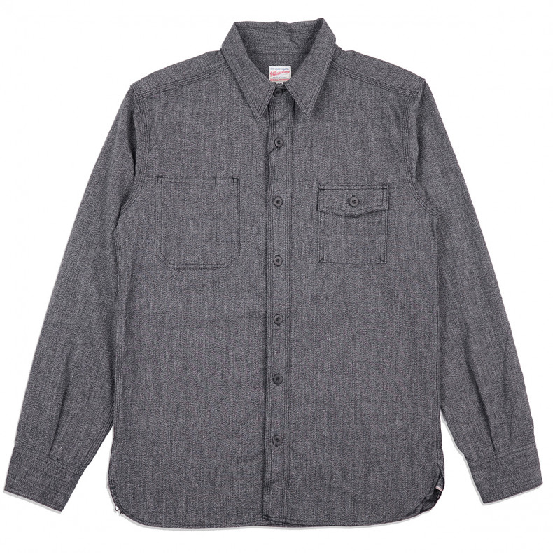 Рубашка Momotaro Jeans 05-214 Twisted Chambray Work Shirt Black