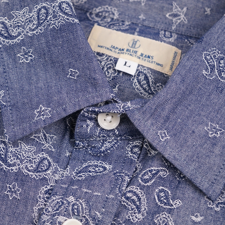 Рубашка Japan Blue Jeans J353031 Jacquard Chambray Paisley Shirt Indigo