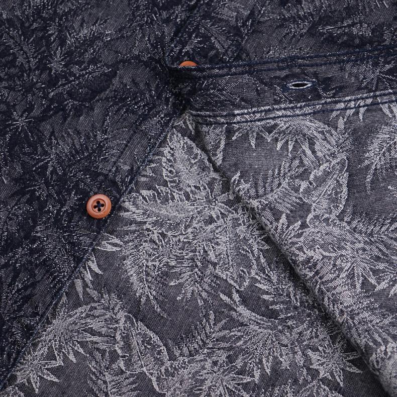 Рубашка Momotaro Jeans 06-084Jacquard Shirt Indigo