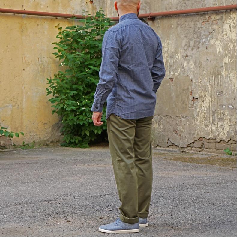 Рубашка Momotaro Jeans 05-260 Twill Stripe Shirt Navy