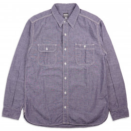 Рубашка Momotaro MS033 Work Shirt Zimbabwe Chambray Selvedge 5 oz - Purple