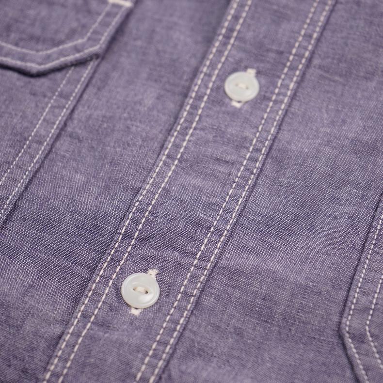 Рубашка Momotaro MS033 Work Shirt Zimbabwe Chambray Selvedge 5 oz - Purple