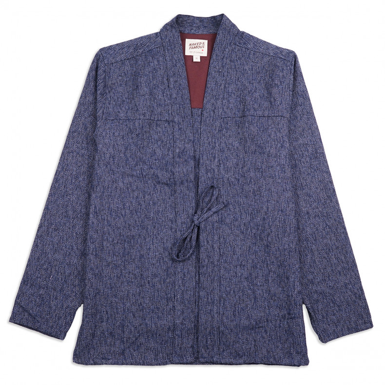Рубашка Naked and Famous Kimono Heavyweight Japanese Brushed Tweed Navy