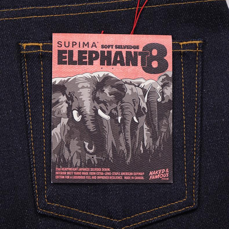 Джинсы Naked and Famous Weird Guy Elephant 8 Supima Soft 21 oz Selvedge
