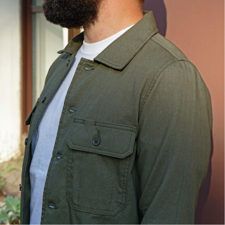 Рубашка Naked and Famous Work Shirt Green Rinsed Oxford