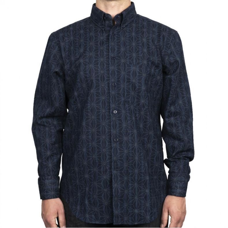 Рубашка Naked and Famous Easy Shirt Kimono Pattern Dark Blue