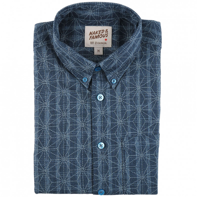 Рубашка Naked and Famous Easy Shirt Kimono Pattern Mid Blue