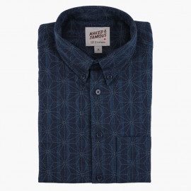 Рубашка Naked and Famous Easy Shirt Kimono Pattern Dark Blue